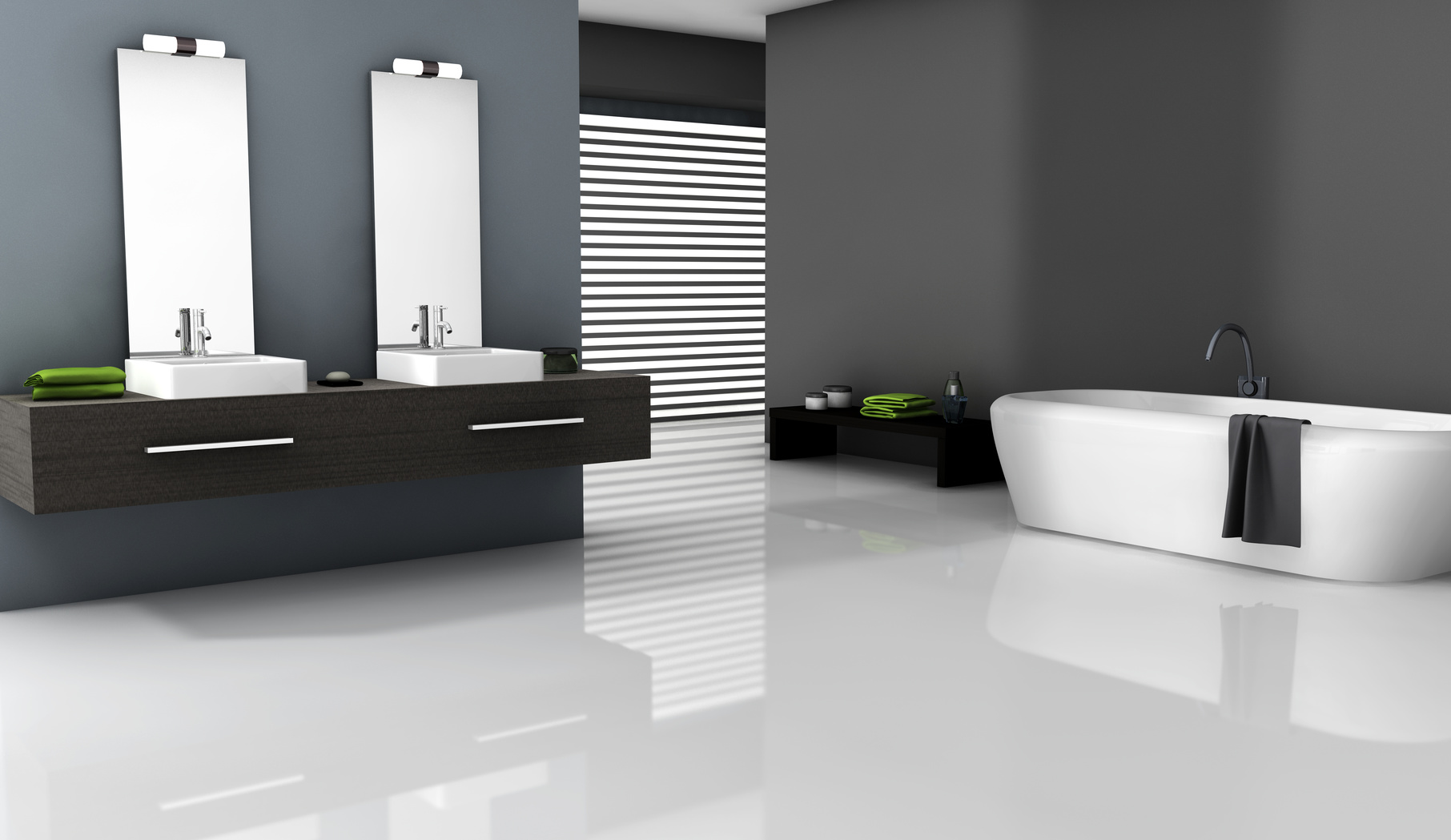 Home interior of a contemporary bathroom with modern design and furniture, 3d rendering.